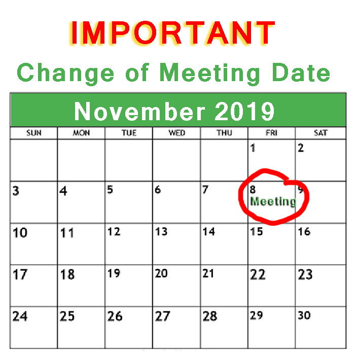 Important - Change of date for July 2019 Club meeting