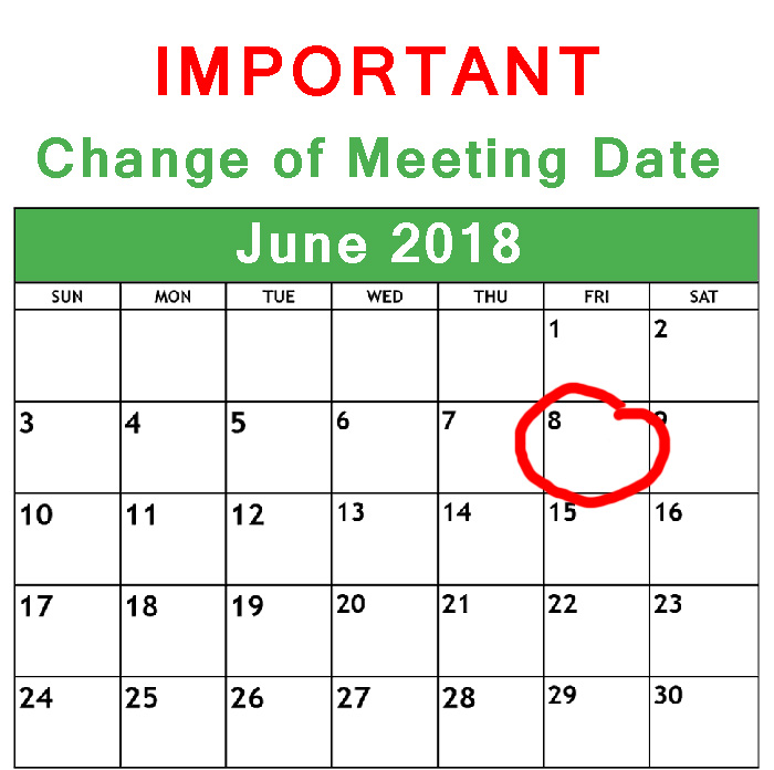 Change of Meeting Date, June 2018